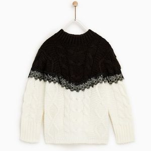 Zara girls white and black lace cable knit sweater